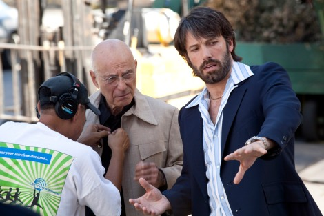 "(L-r) ALAN ARKIN and director BEN AFFLECK on the set of ""ARGO,"" a presentation of Warner Bros. Pictures in association with GK Films, to be distributed by Warner Bros. Pictures."