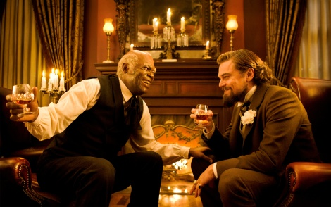 Samuel L. Jackson, left, and Leonardo DiCaprio in Django Unchained.