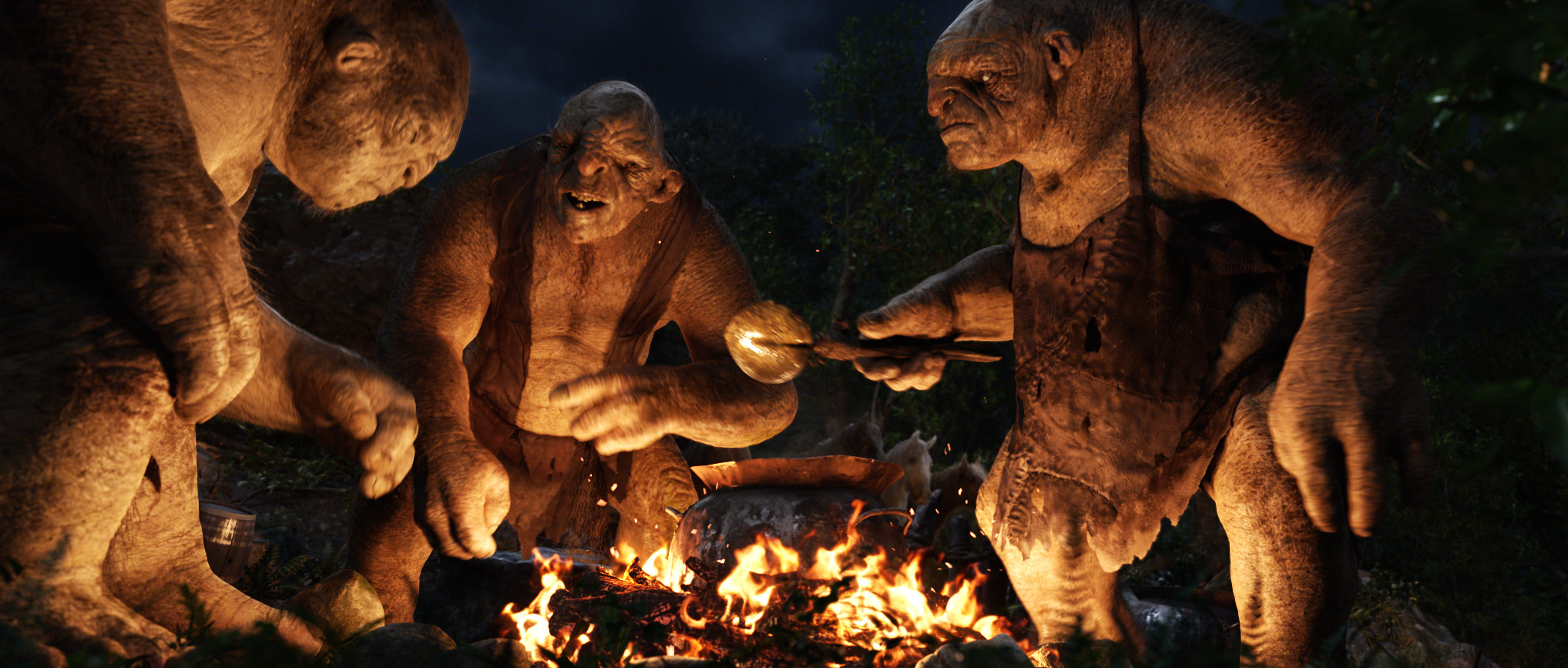 Trolls enjoying a campfire in The Hobbit: An Unexpected Journey.
