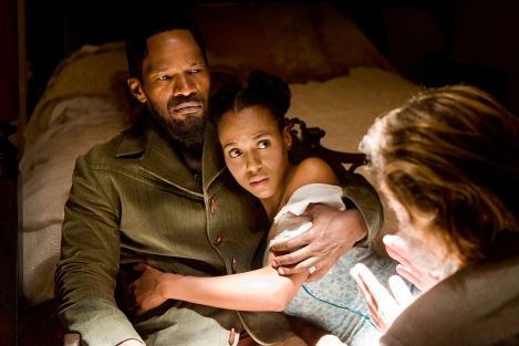 Jamie Foxx, left, and Kerry Washington star in Quentin Tarantino's mashup western Django Unchained.
