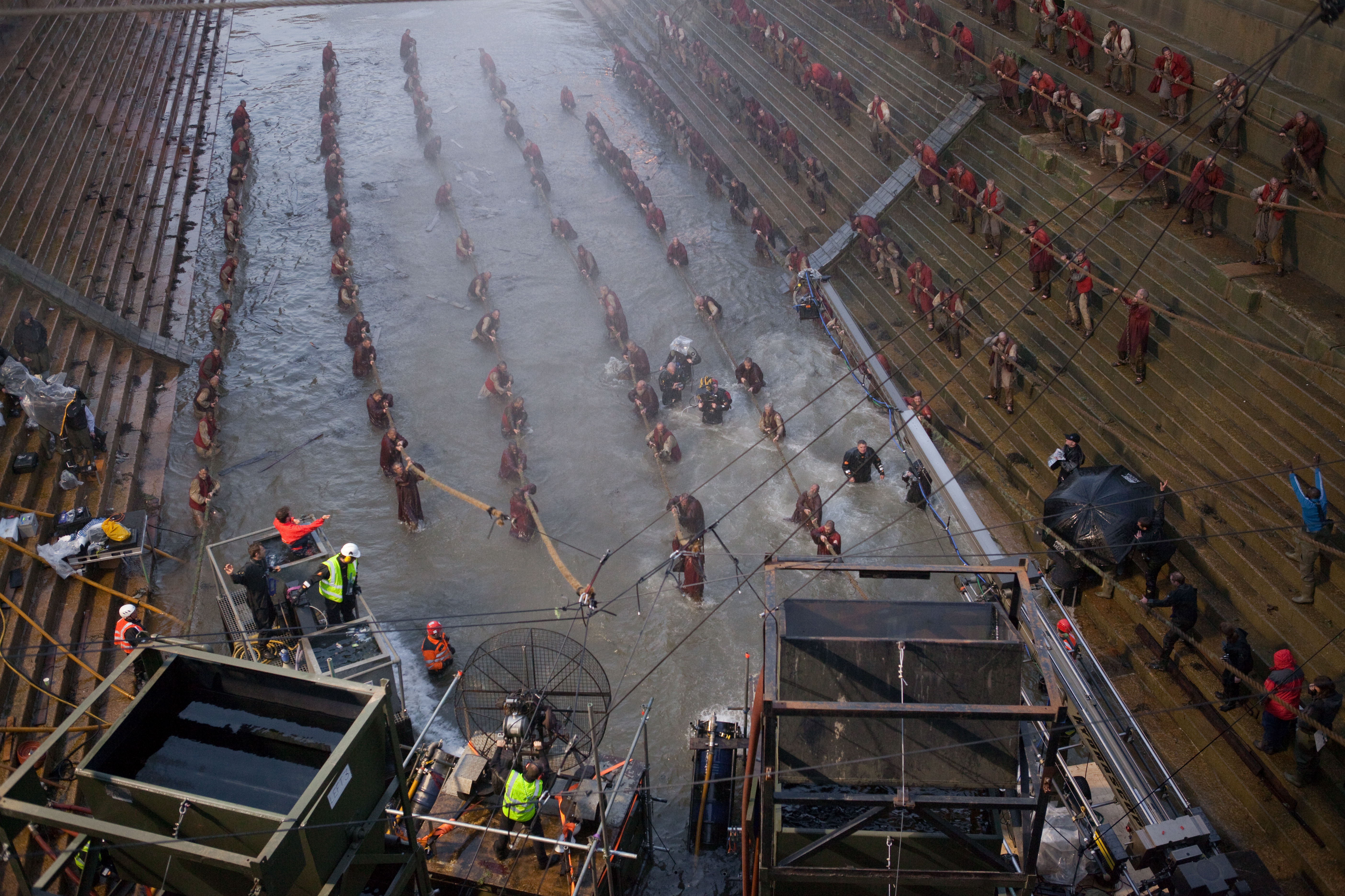 Cold water and an epic scale made shooting the shipyard scene difficult.