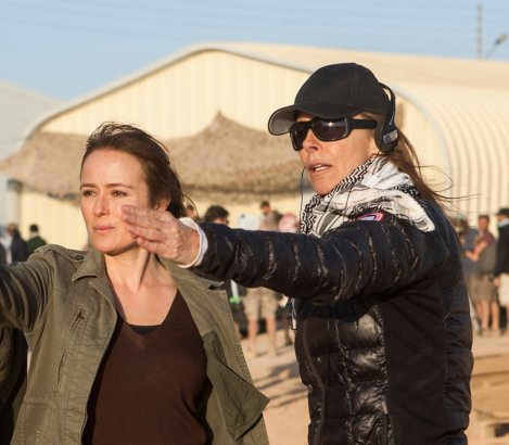 Jennifer Ehle (center) and Director Kathryn Bigelow (right) on the set of Columbia Pictures' new thriller ZERO DARK THIRTY.