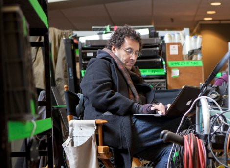 Screenwriter Tony Kushner on the set of Lincoln.