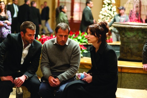 Director David O. Russell, center, with stars Bradley Cooper and Jennifer Lawrence on the set of Silver Linings Playbook,