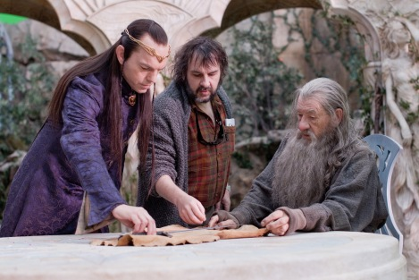 From left: Hugo Weaving, Peter Jackson, and Ian McKellen on the set of The Hobbit: An Unexpected Journey.