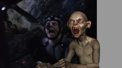 Andy Serkis' mocap performance is recorded first, then Gollum's features and backgrounds are added later.